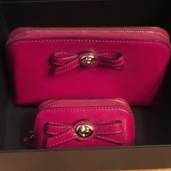 Coach Handbags - Coach 2 cosmetic case purse zip Fuschia Turnlock